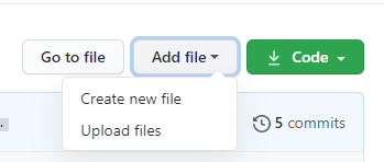 """Green """"add button"""" file on a Gtihub repository page."""