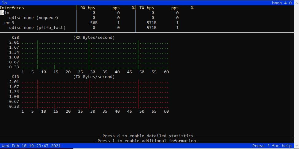 Bmon command on Linux screenshot